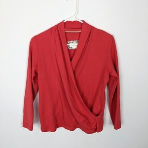 Anthro Maeve Coral Draped Long Sleeve Top Small